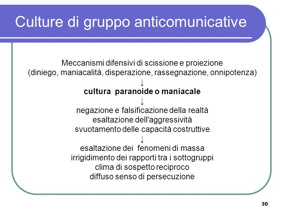Culture di gruppo anticomunicative
