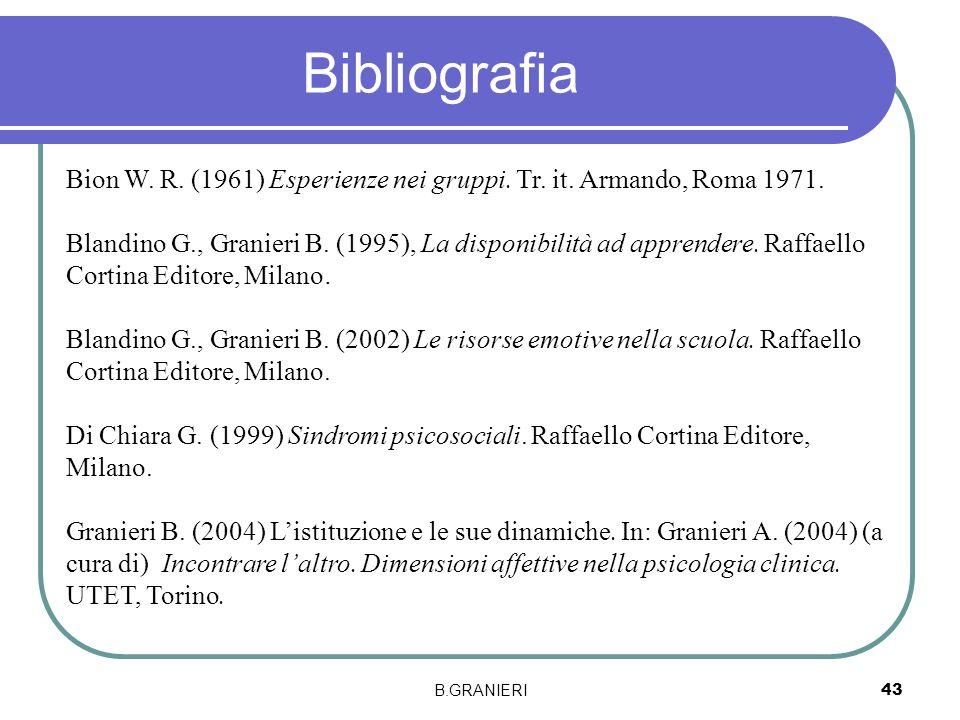 Bibliografia Bion W. R. (1961) Esperienze nei gruppi. Tr. it. Armando, Roma 1971.