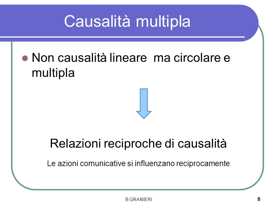 Causalità multipla Non causalità lineare ma circolare e multipla