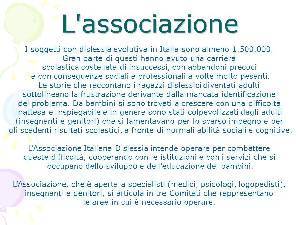 L associazione I soggetti con dislessia evolutiva in Italia sono almeno 1.500.000. Gran parte di questi hanno avuto una carriera.