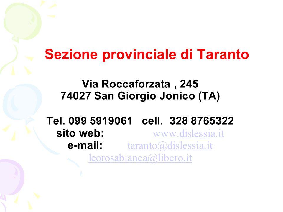 Sezione provinciale di Taranto 74027 San Giorgio Jonico (TA)