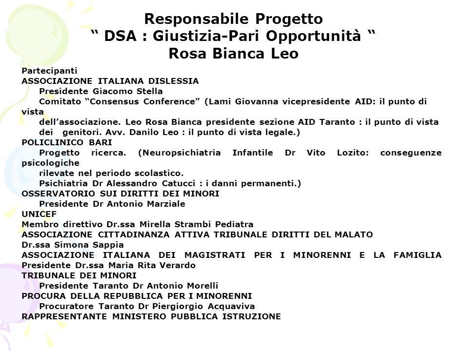 Responsabile Progetto DSA : Giustizia-Pari Opportunità Rosa Bianca Leo