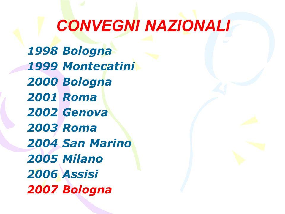 CONVEGNI NAZIONALI 1998 Bologna 1999 Montecatini 2000 Bologna