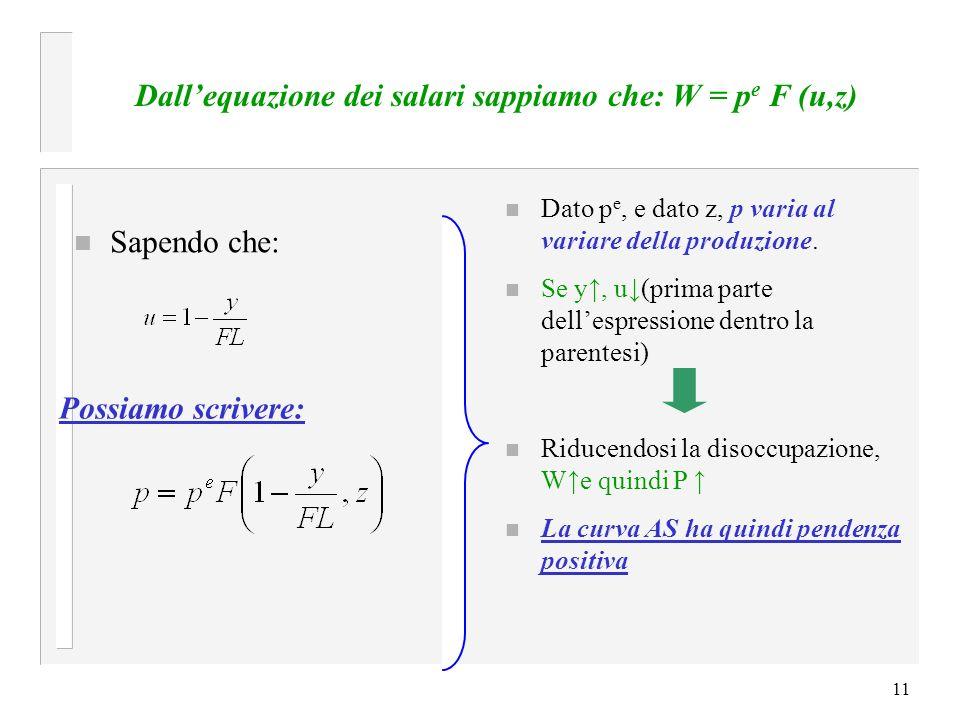 Dall'equazione dei salari sappiamo che: W = pe F (u,z)