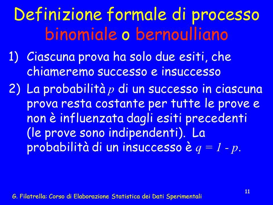 Definizione formale di processo binomiale o bernoulliano