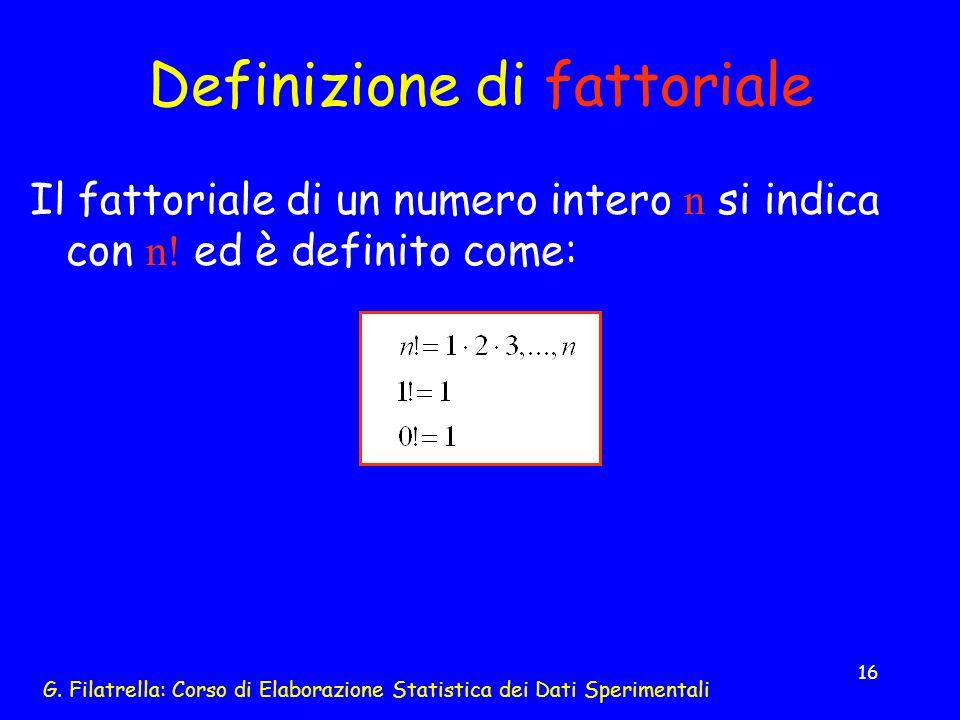 Definizione di fattoriale
