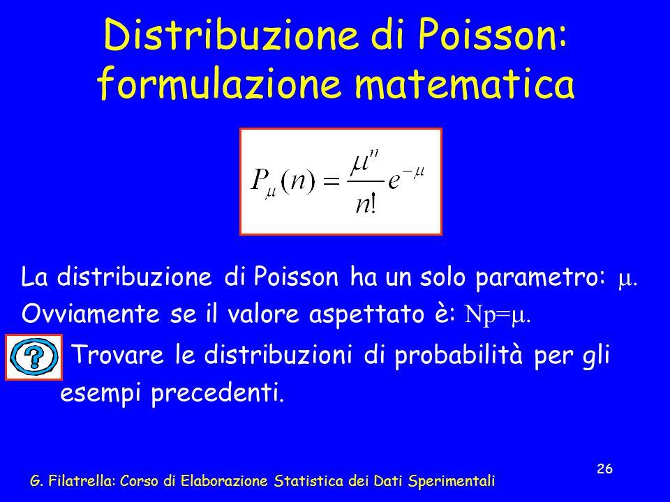 Distribuzione di Poisson: formulazione matematica
