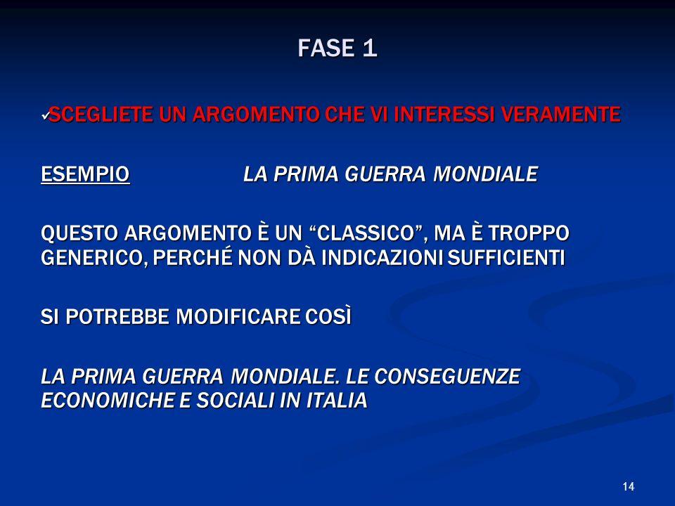 FASE 1 SCEGLIETE UN ARGOMENTO CHE VI INTERESSI VERAMENTE