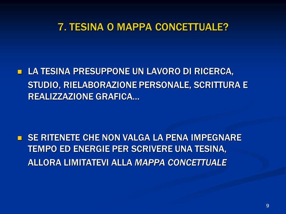 7. TESINA O MAPPA CONCETTUALE