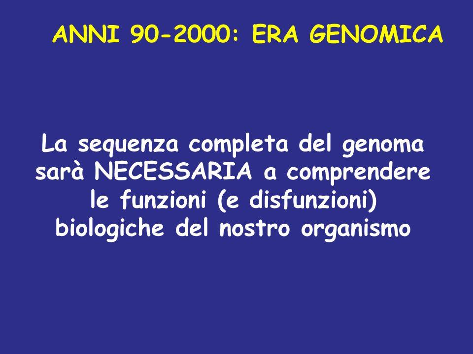 ANNI 90-2000: ERA GENOMICA La sequenza completa del genoma sarà NECESSARIA a comprendere le funzioni (e disfunzioni) biologiche del nostro organismo.