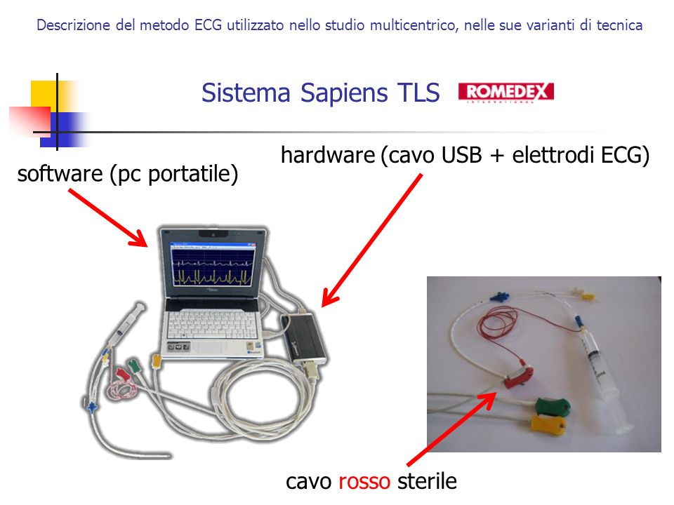 Sistema Sapiens TLS hardware (cavo USB + elettrodi ECG)