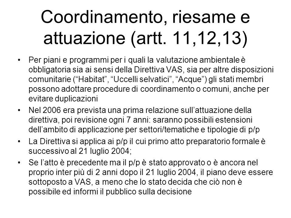 Coordinamento, riesame e attuazione (artt. 11,12,13)