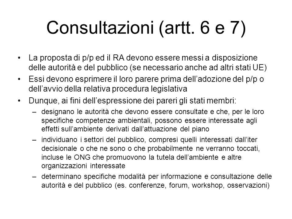 Consultazioni (artt. 6 e 7)