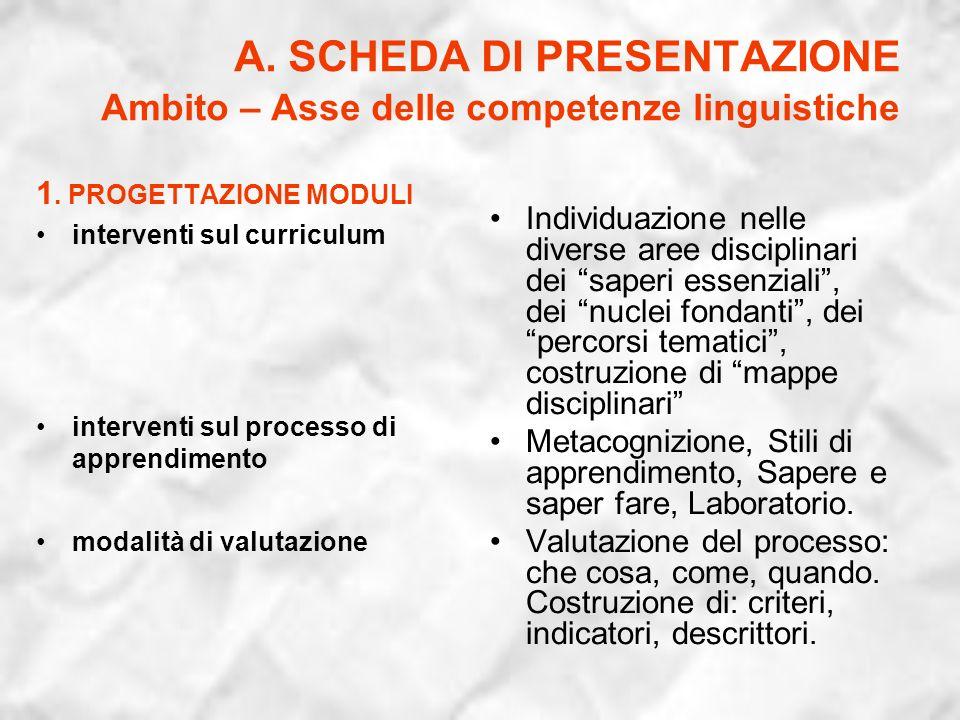 A. SCHEDA DI PRESENTAZIONE Ambito – Asse delle competenze linguistiche