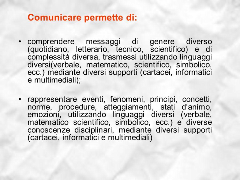 Comunicare permette di: