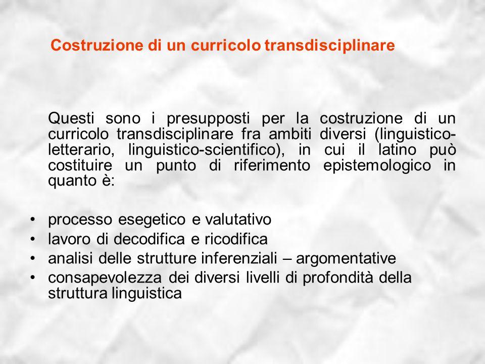 Costruzione di un curricolo transdisciplinare