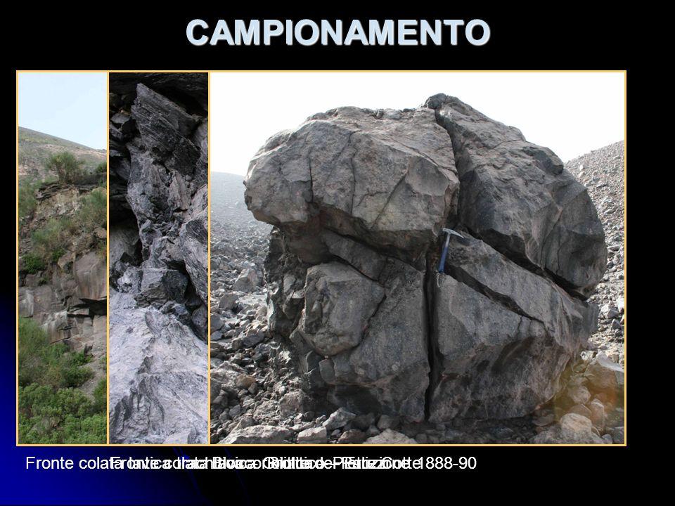 CAMPIONAMENTO Fronte colata lavica trachitica – Grotte dei Palizzi