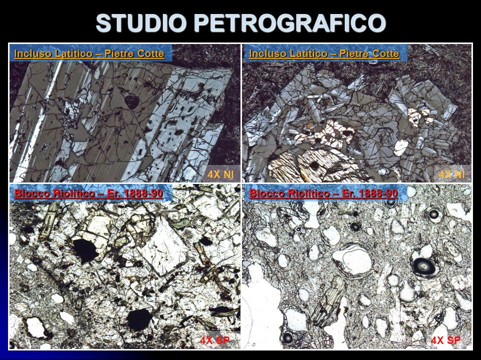STUDIO PETROGRAFICO Incluso Latitico – Pietre Cotte