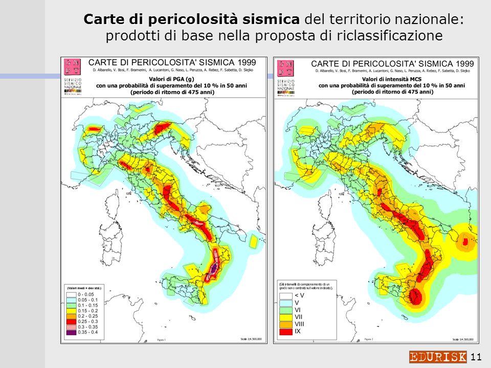 Carte di pericolosità sismica del territorio nazionale: