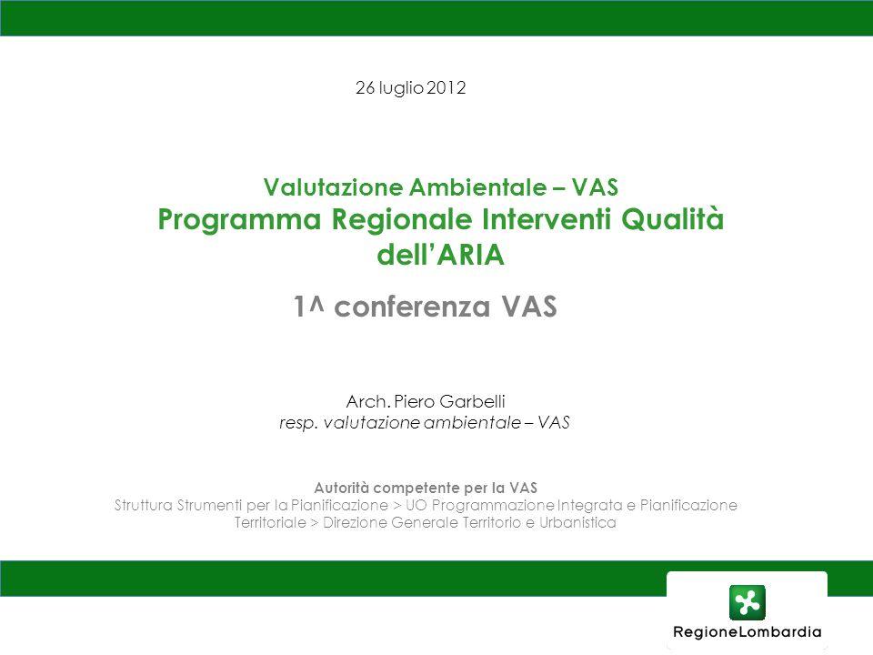 Programma Regionale Interventi Qualità dell'ARIA 1^ conferenza VAS