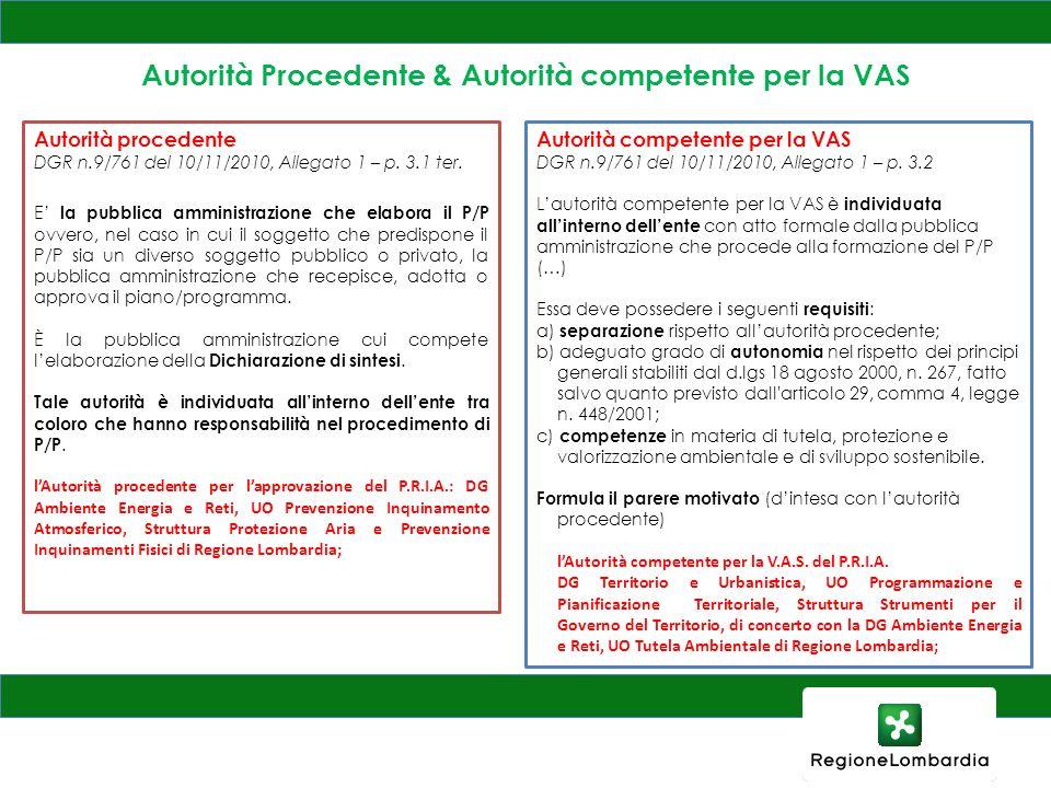 Autorità Procedente & Autorità competente per la VAS
