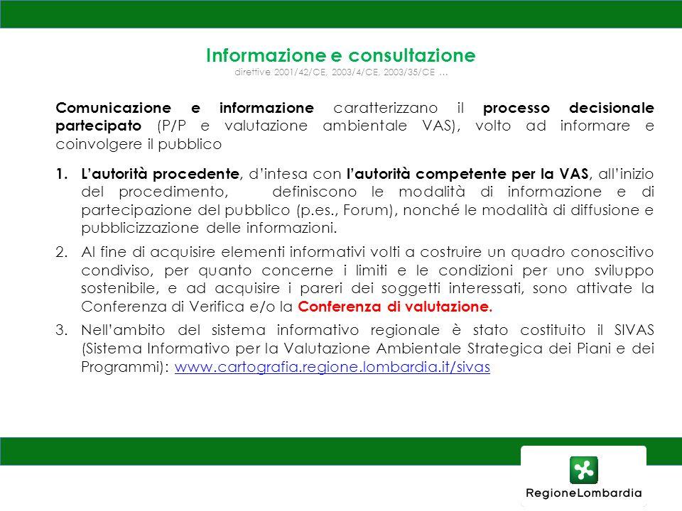 Informazione e consultazione direttive 2001/42/CE, 2003/4/CE, 2003/35/CE …