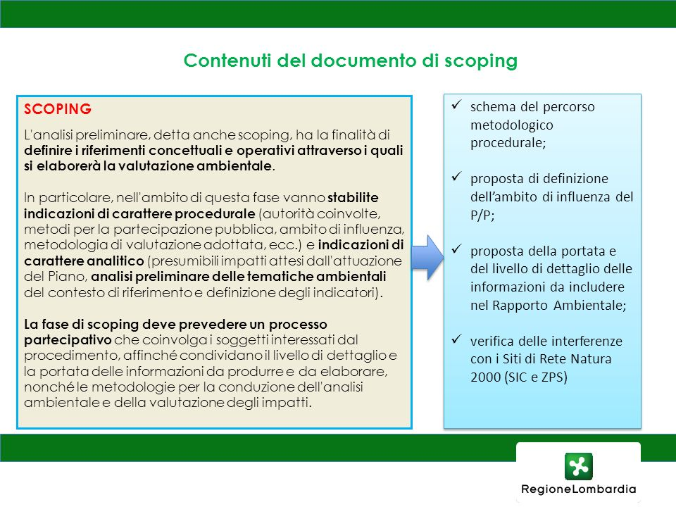 Contenuti del documento di scoping