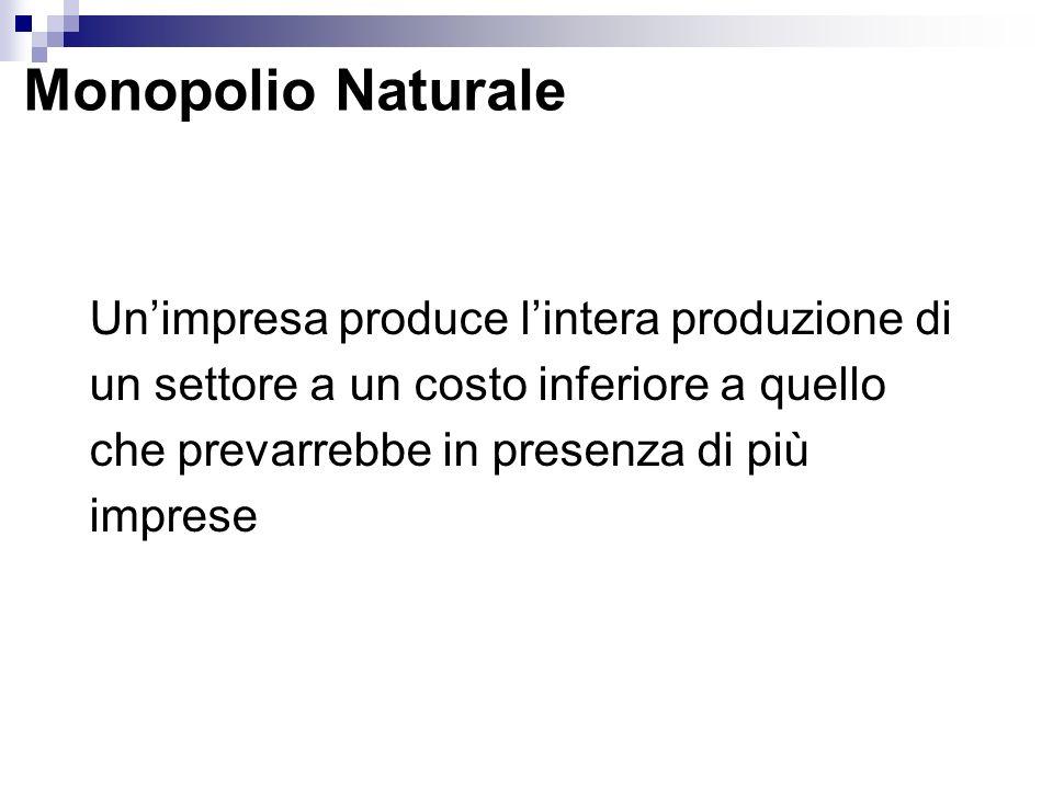 Monopolio Naturale Un'impresa produce l'intera produzione di un settore a un costo inferiore a quello che prevarrebbe in presenza di più imprese.