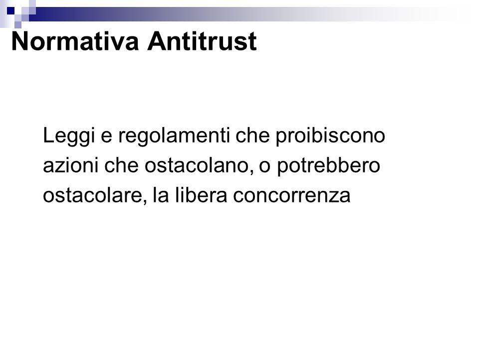 Normativa AntitrustLeggi e regolamenti che proibiscono azioni che ostacolano, o potrebbero ostacolare, la libera concorrenza.