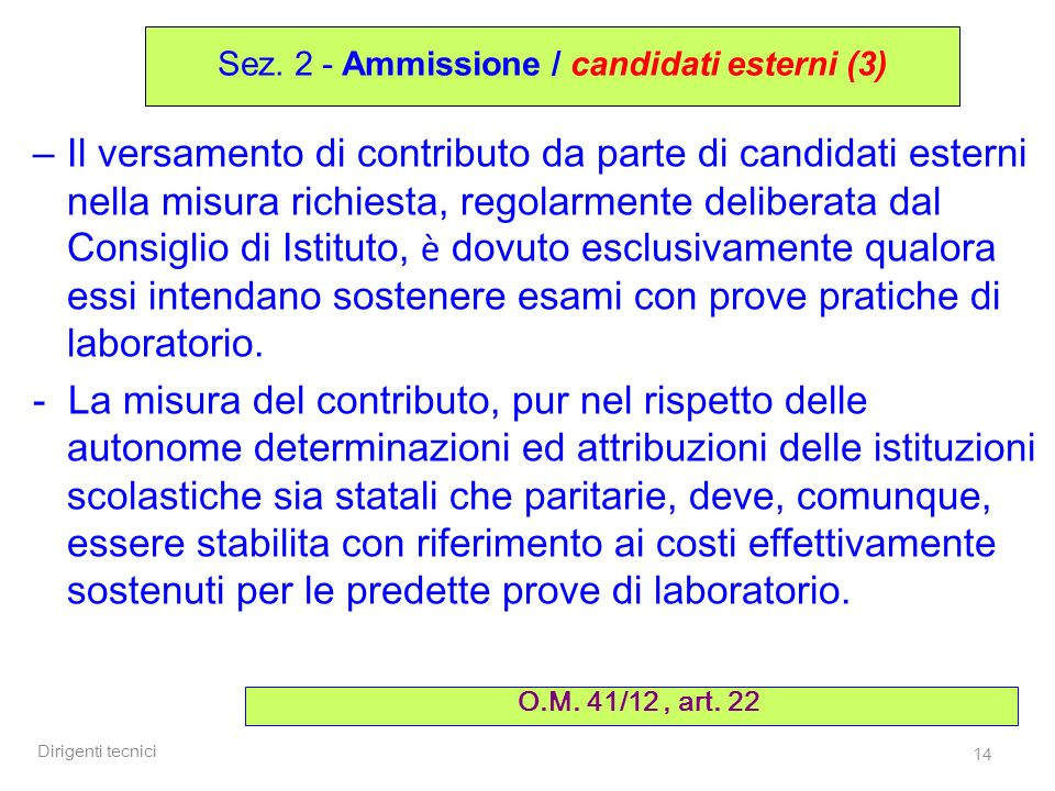 Sez. 2 - Ammissione / candidati esterni (3)