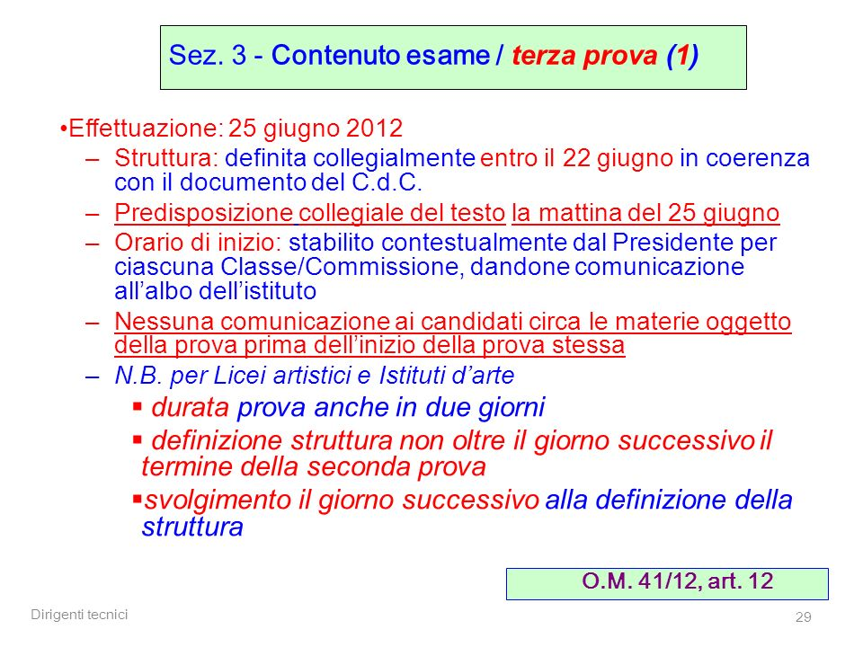 Sez. 3 - Contenuto esame / terza prova (1)