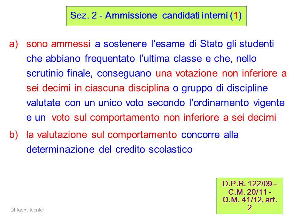 Sez. 2 - Ammissione candidati interni (1)