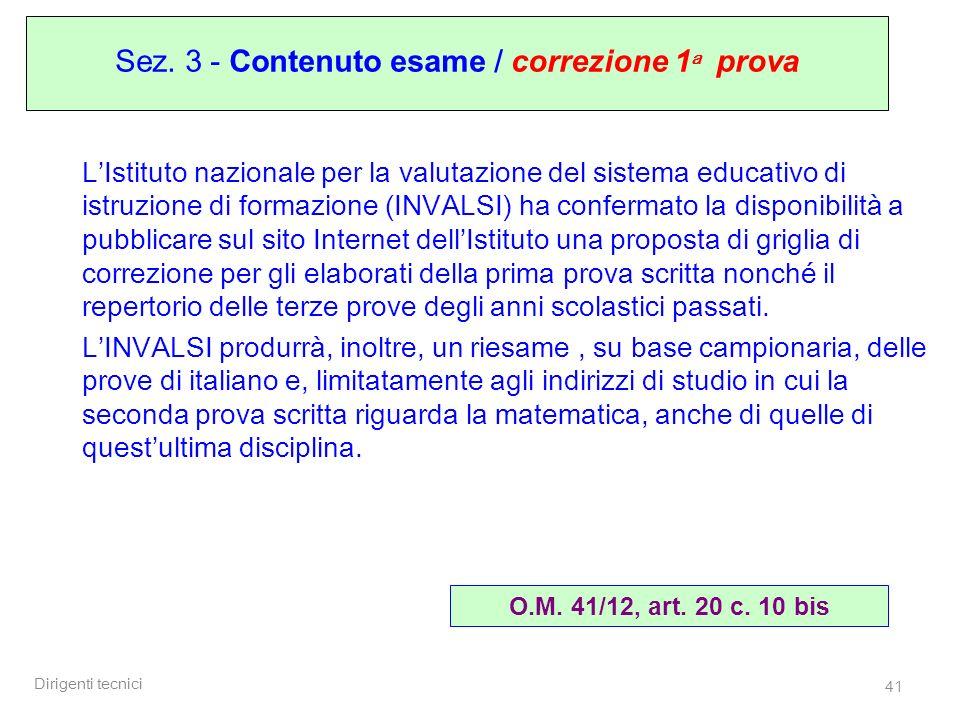 Sez. 3 - Contenuto esame / correzione 1a prova