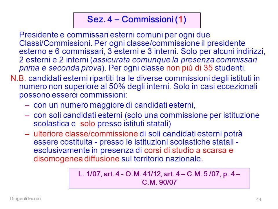 L. 1/07, art. 4 - O.M. 41/12, art. 4 – C.M. 5 /07, p. 4 – C.M. 90/07