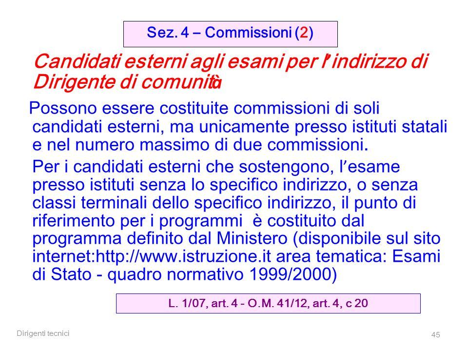 Sez. 4 – Commissioni (2) Candidati esterni agli esami per l'indirizzo di Dirigente di comunità.