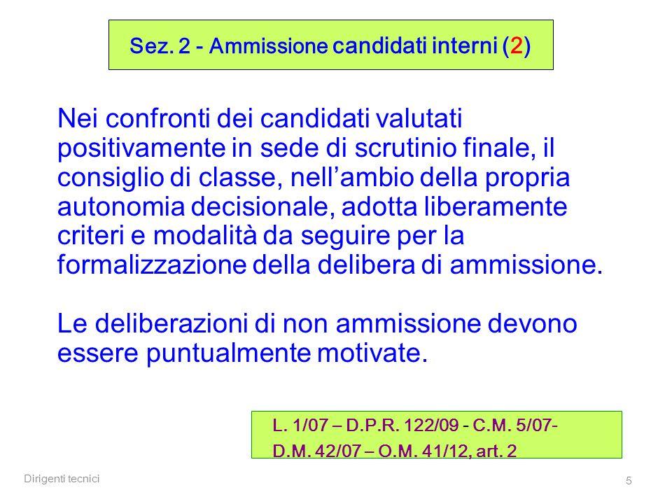 Sez. 2 - Ammissione candidati interni (2)