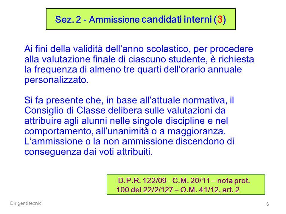 Sez. 2 - Ammissione candidati interni (3)