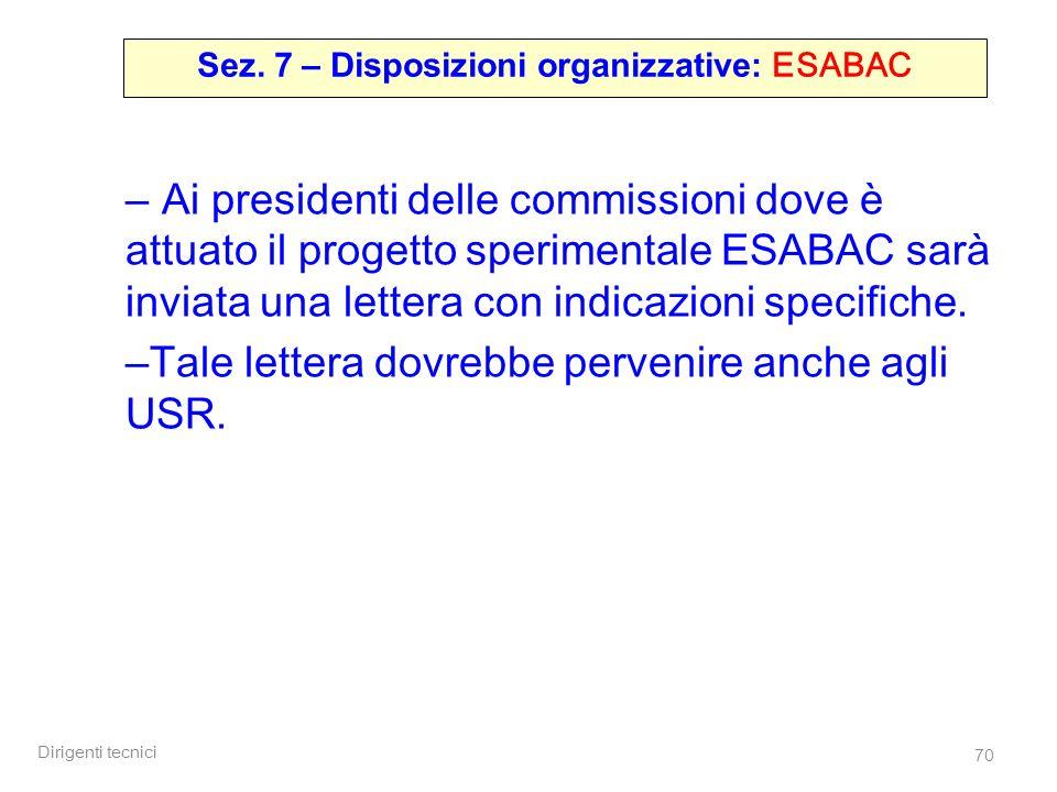 Sez. 7 – Disposizioni organizzative: ESABAC