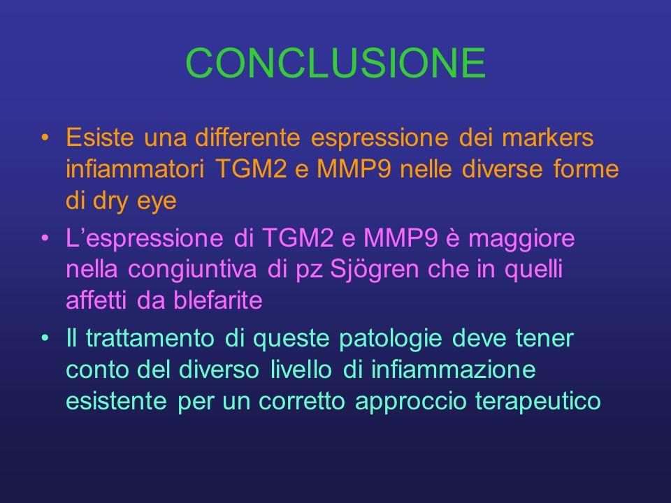 CONCLUSIONE Esiste una differente espressione dei markers infiammatori TGM2 e MMP9 nelle diverse forme di dry eye.