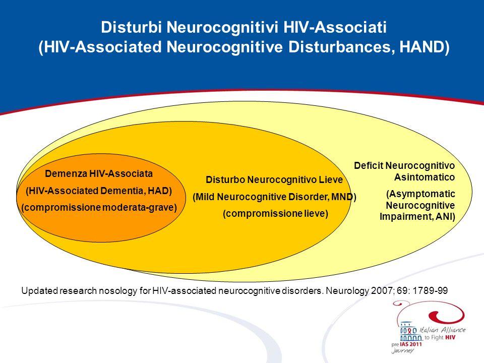 Disturbi Neurocognitivi HIV-Associati (HIV-Associated Neurocognitive Disturbances, HAND)