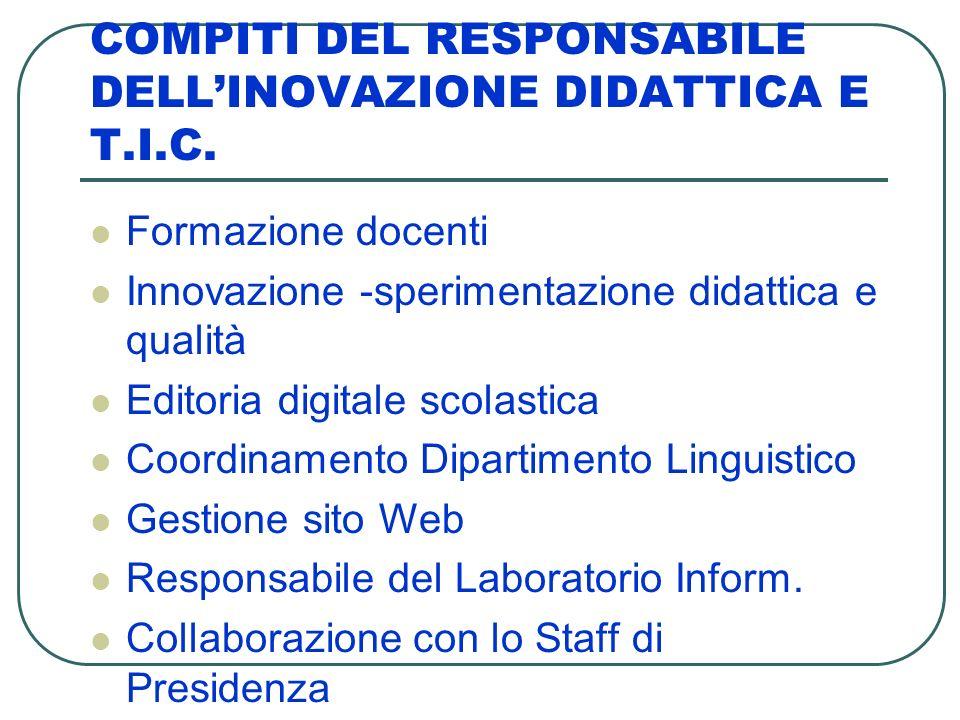 COMPITI DEL RESPONSABILE DELL'INOVAZIONE DIDATTICA E T.I.C.