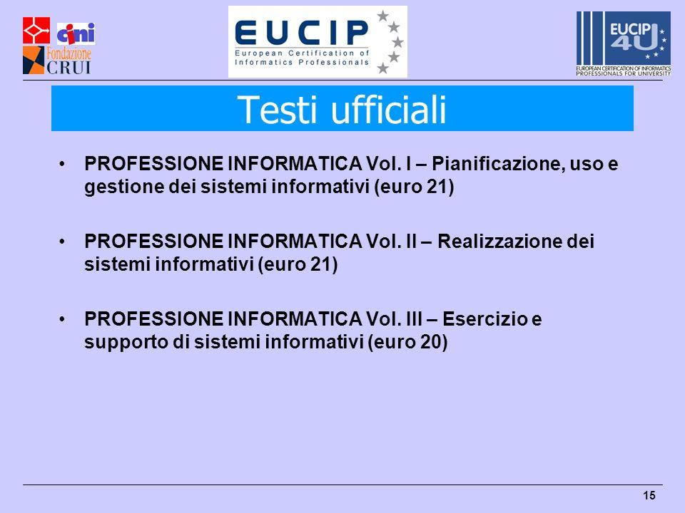 Testi ufficiali PROFESSIONE INFORMATICA Vol. I – Pianificazione, uso e gestione dei sistemi informativi (euro 21)