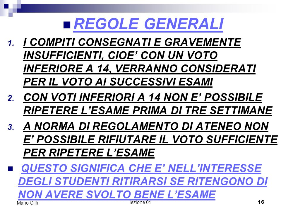 MicroeconomiaMario Gilli. REGOLE GENERALI.