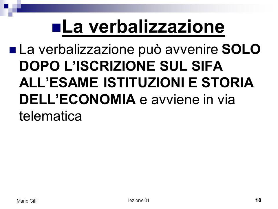 Mario Gilli Mario Gilli. La verbalizzazione.