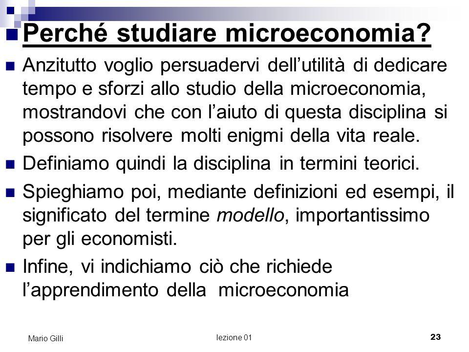 Perché studiare microeconomia