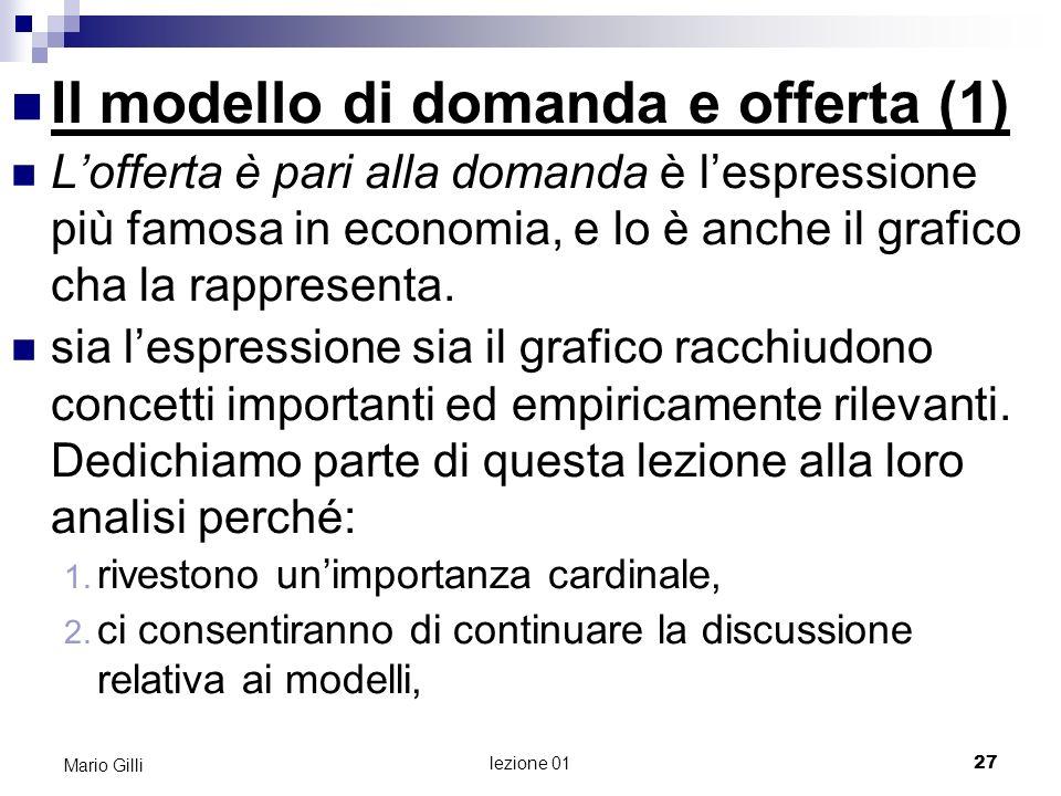 Il modello di domanda e offerta (1)
