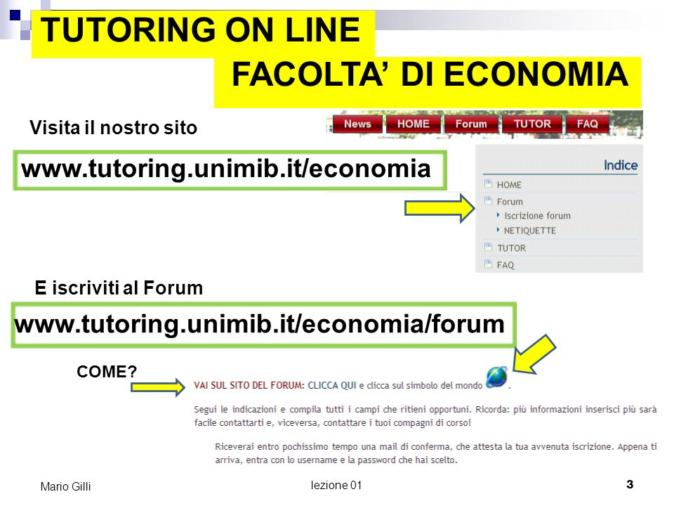 TUTORING ON LINE FACOLTA' DI ECONOMIA