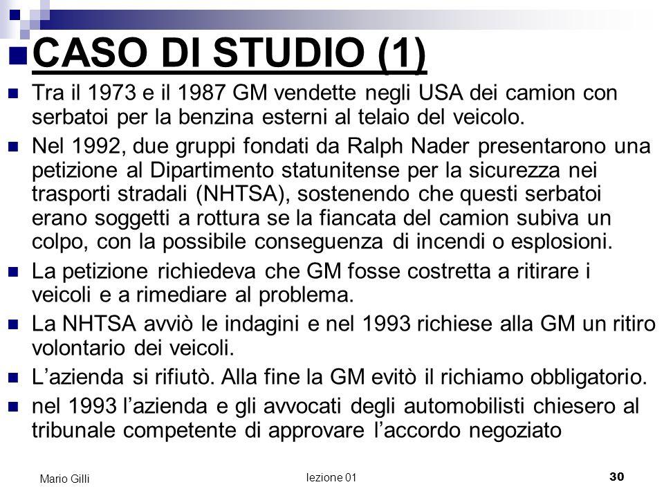 Microeconomia Mario Gilli. CASO DI STUDIO (1)