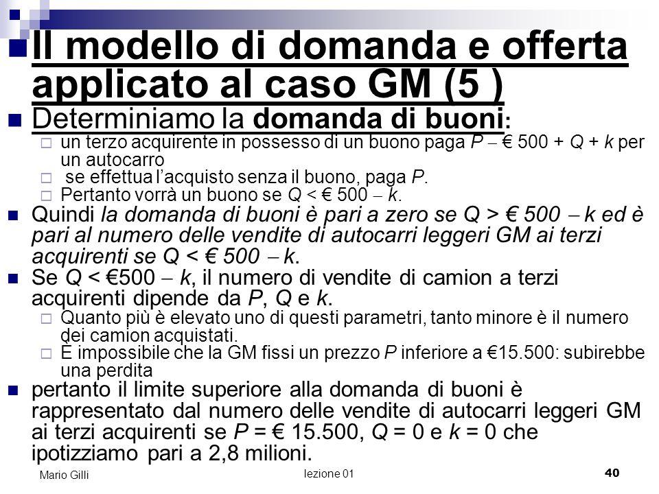 Il modello di domanda e offerta applicato al caso GM (5 )