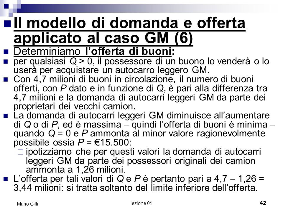 Il modello di domanda e offerta applicato al caso GM (6)